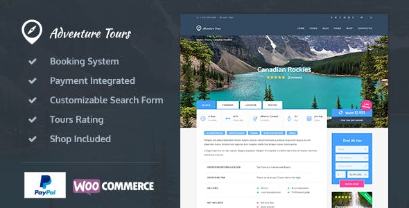 Download Adventure Tours  – Tour & Travel Theme wordpress themes gpl licenced not nulled not cracked for free