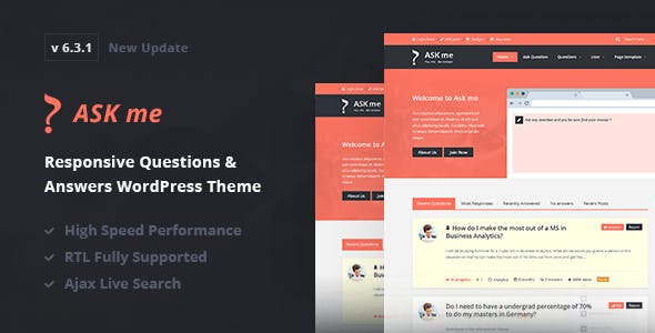 Download Ask Me  – Questions & Answers Theme wordpress themes gpl licenced not nulled not cracked for free