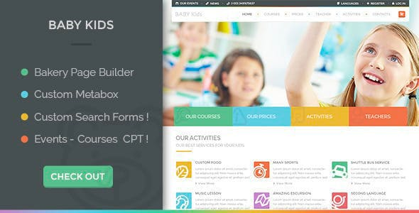 Download Baby Kids  – Primary School For Children wordpress themes gpl licenced not nulled not cracked for free