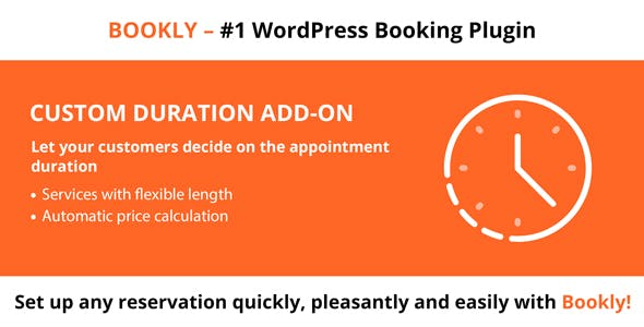 Download Bookly Custom Duration (Add-on) Wordpress Plugins gpl licenced not nulled not cracked for free