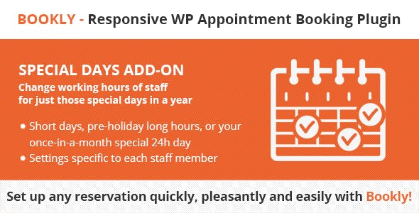 Download Bookly Special Days (Add-on) Wordpress Plugins gpl licenced not nulled not cracked for free