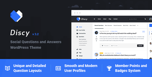 Download Discy  – Social Questions and Answers Theme wordpress themes gpl licenced not nulled not cracked for free