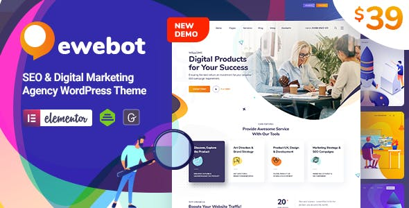 Download Ewebot  – SEO Marketing & Digital Agency wordpress themes gpl licenced not nulled not cracked for free
