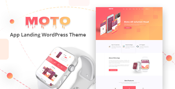 Download Moto  – App Landing Page WordPress Theme wordpress themes gpl licenced not nulled not cracked for free