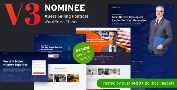 Download Nominee  – Political Theme for Candidate Political wordpress themes gpl licenced not nulled not cracked for free