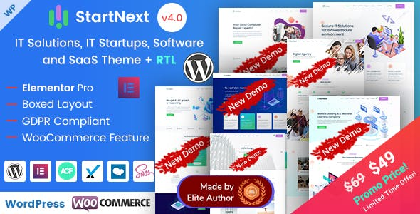 Download StartNext  – Elementor IT & Business Theme wordpress themes gpl licenced not nulled not cracked for free