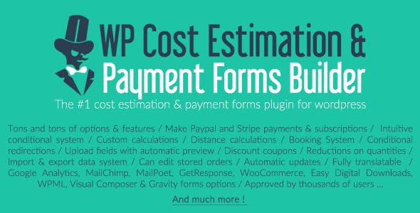 Download WP Cost Estimation & Payment Forms Builder Wordpress Plugins gpl licenced not nulled not cracked for free