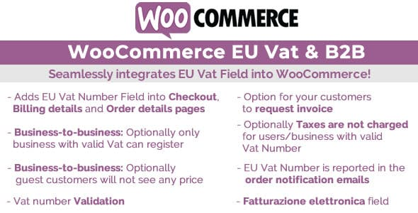 Download WooCommerce Eu Vat & BB Wordpress Plugins gpl licenced not nulled not cracked for free