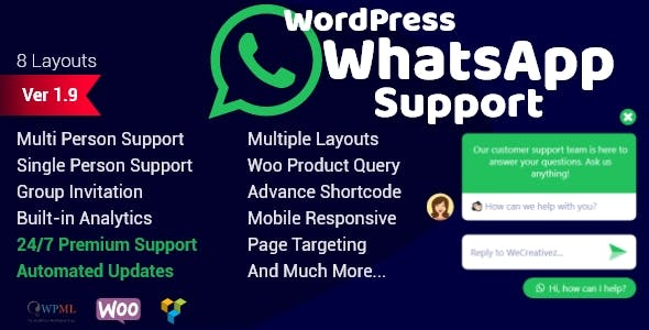 Download WordPress WhatsApp Support Wordpress Plugins gpl licenced not nulled not cracked for free
