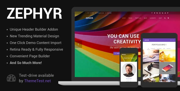 Download Zephyr  – Material Design Theme wordpress themes gpl licenced not nulled not cracked for free