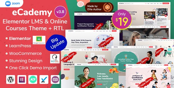 Download eCademy  – Elementor LMS & Online Courses wordpress themes gpl licenced not nulled not cracked for free