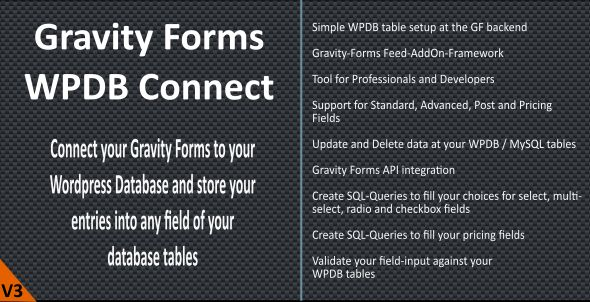 Download Gravity Forms WPDB / MySQL Connect Wordpress Plugins gpl licenced not nulled not cracked for free