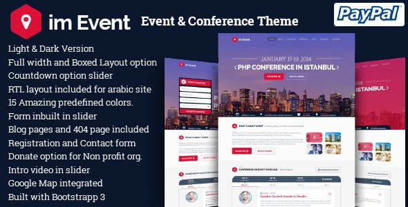 Download imEvent  – Conference Meetup Theme wordpress themes gpl licenced not nulled not cracked for free